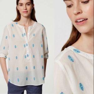 LOFT Aztec Embroidered Softened Henley Shirt